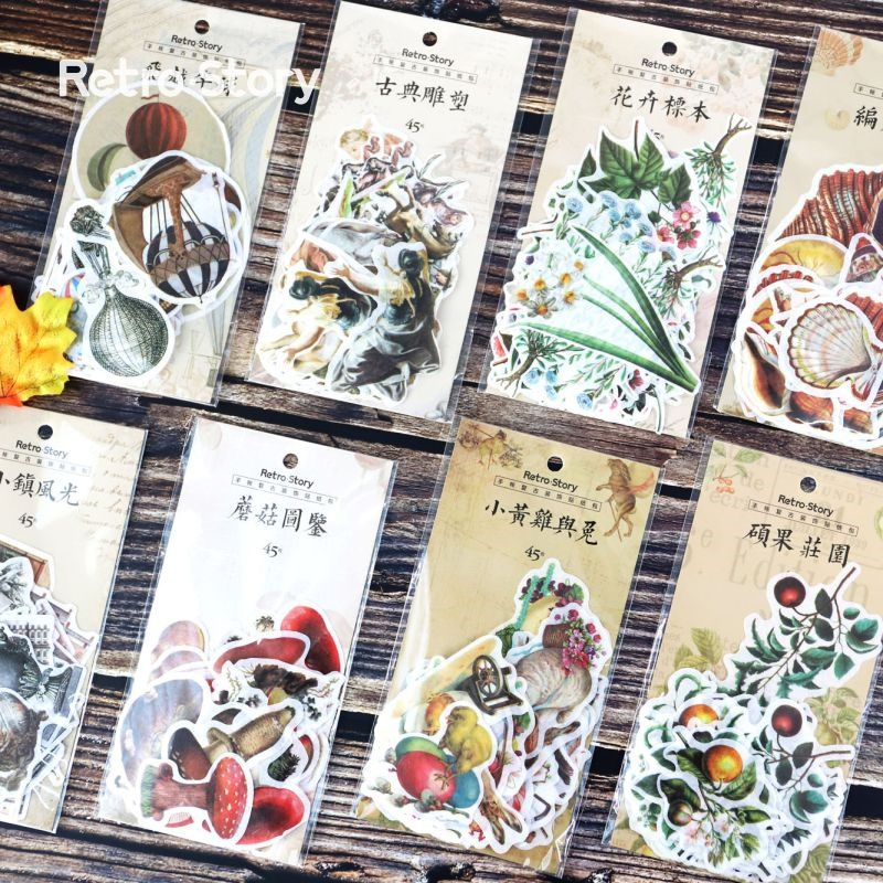 45pcs Pack Vintage Plants Balloon Paper Sticker Decoration Diary