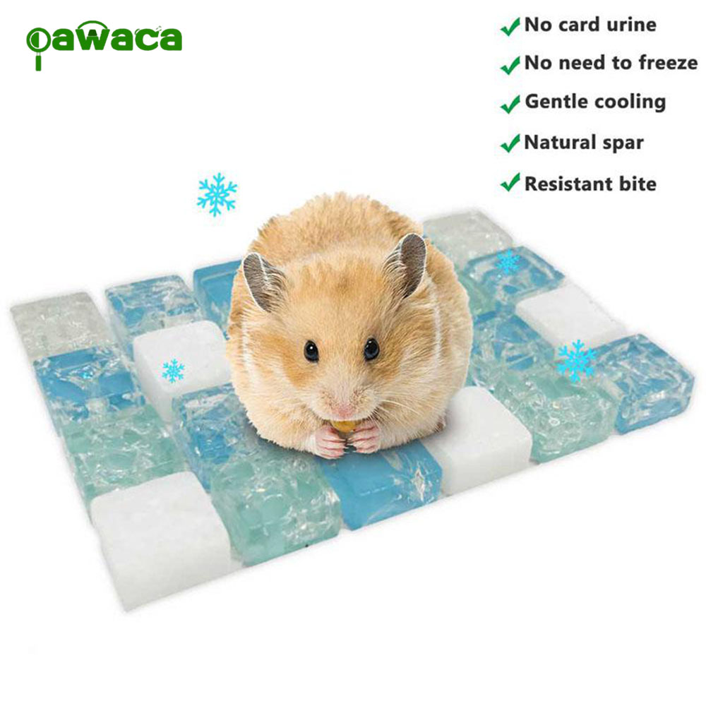 Small Pet Cooling Mat Foldable Natural Spar Summer Sleeping Pad For Guinea Pig Hamster Rabbit Chinchilla Small Animals Supplies