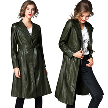 Khaki PU Leather Trench Coat Women Autumn Winter Black Coat Long Sleeve Single Breasted Long Belt Trench Coat Windbreaker New все цены