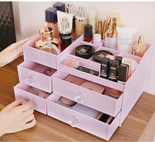 Cosmetic storage box dressing table desktop large drawer skin care plastic shelf