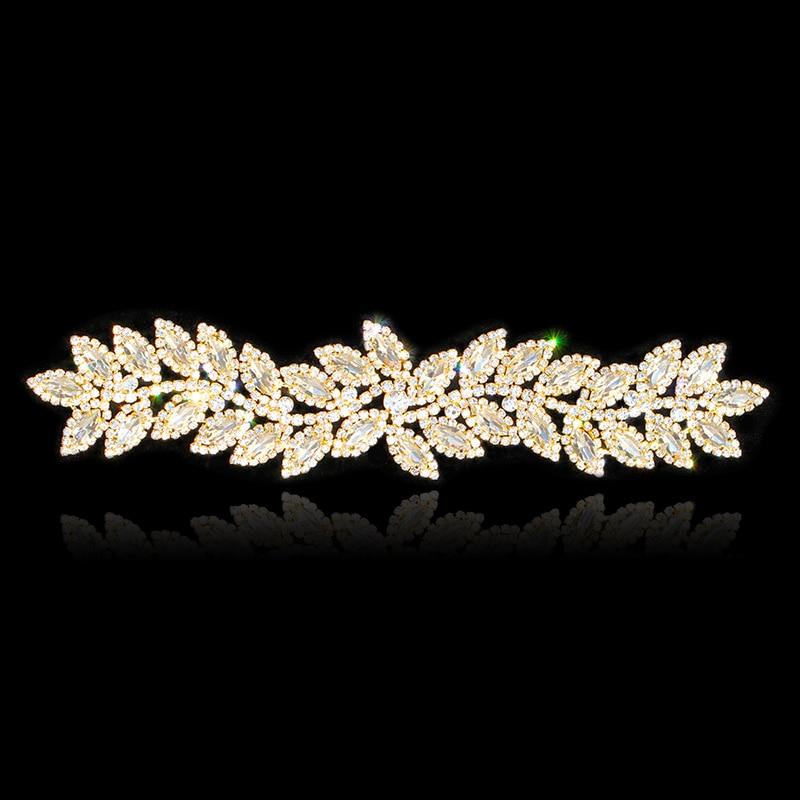 24.2 * 5,5 cm de argint de aur frunze plat stofa de sticla Applique - Arte, meșteșuguri și cusut