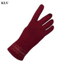 Роскошные Женщины Термальной Зимней Моды Новый Бренд Чувство Экран Варежки Женский Полный Finger Открытый Сплошной Цвет Теплые Перчатки 1 Ноября