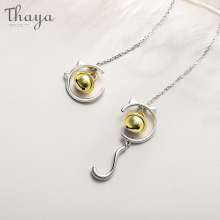 Thaya S925 Silver Cuts Bell And Cat Earrings  Korean Dropping Asymmetric For Women Gift