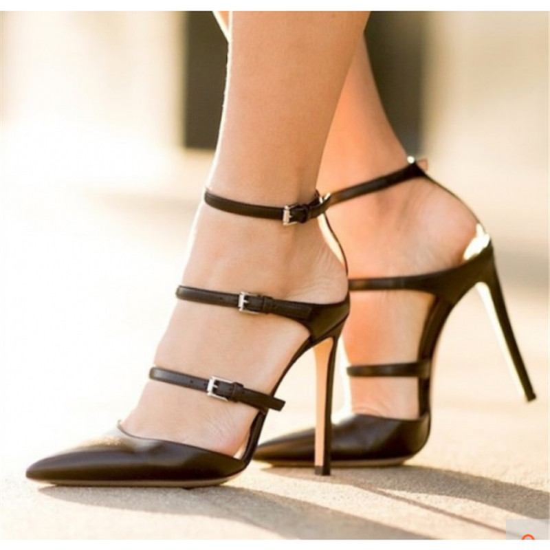 Zapatos Sexy Del Tiras Mujeres Pie Tacón Pic Hebillas Tacones Mujer Bombas  Negro Dedo De Gladiador ... 60494dfb52d6