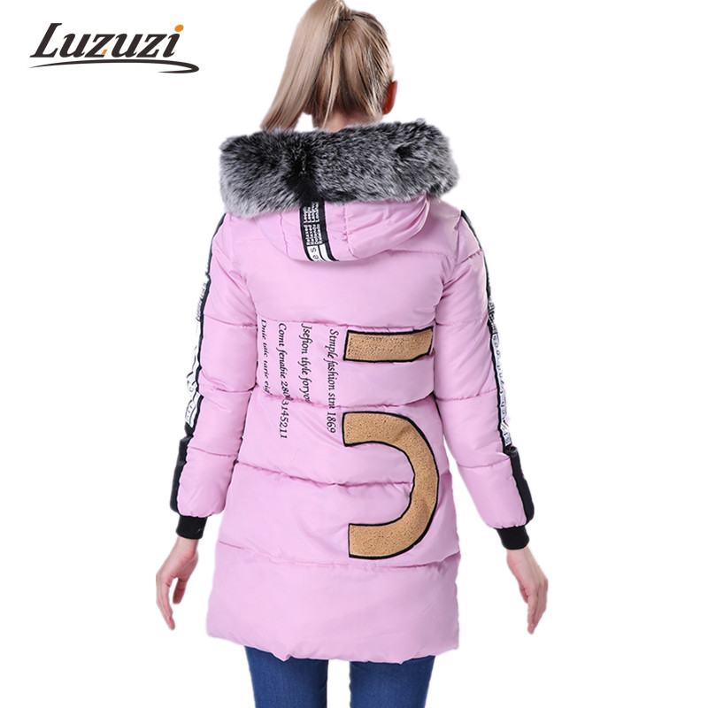 Women Parka Thick 2017 Wadded Female Winter Jacket and Coat Slim Long Zipper Cotton Padded Parkas Print Coats and Jackets WS117 Chemisier