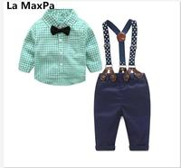 La MaxPa 2017 spring and autumn children plaid shirt strap suit cute and stylish baby shirt plus suspenders