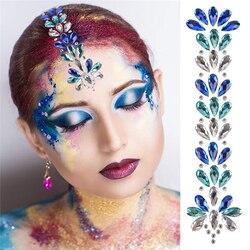Bling Renkli Yapay Elmas Yüz Sticker Vücut Mücevherleri Yapışkanlı Yapışkan Geçici Kafa Çıkartmalar Rave Festivali Seksi Kadın Aksesuarları