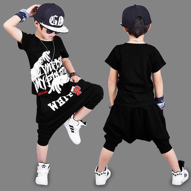 2018 NEW Summer Boys Hip Hop Clothes Sets Dancing Children Clothing Kids Short Two Piece Set Harem Capri Pants Set Size 3-14T