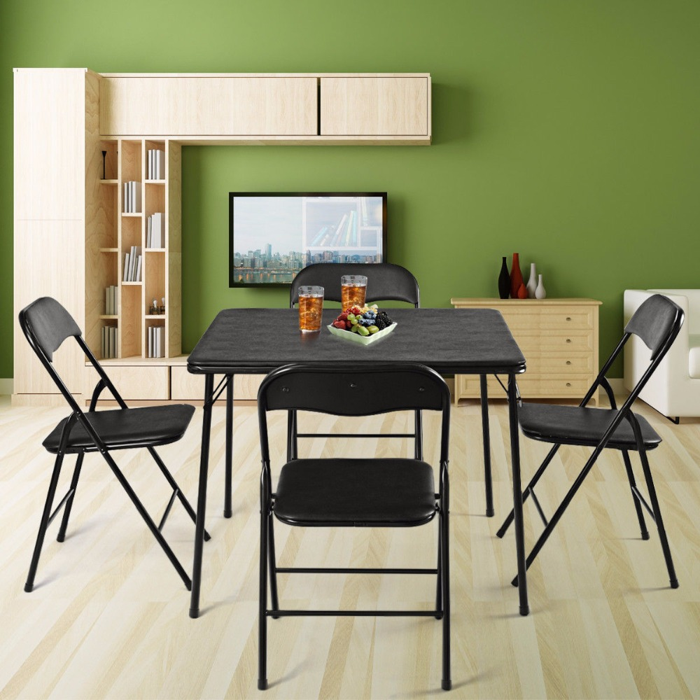 Giantex 5 Piece Folding Table Chair Set Guest Games Card Dining Kitchen Multi-Purpose  Home Furniture HW59440Giantex 5 Piece Folding Table Chair Set Guest Games Card Dining Kitchen Multi-Purpose  Home Furniture HW59440
