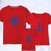 T Shirts Father Mother Kids Cartoon Outfits Family Look Summer Family Matching Clothes Family Matching Clothes 1Piece New