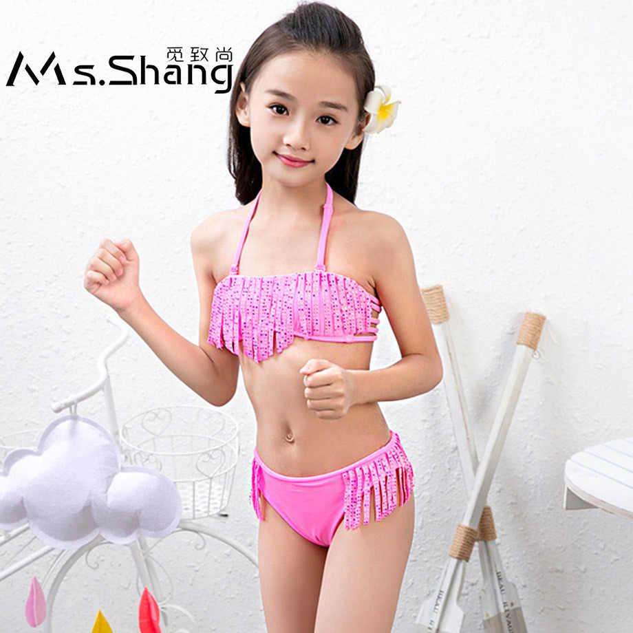 0436057f34 Ms.Shang 7-16 Years Children Swimwear Girls Child Swimsuit Bikini Set Baby  Kids