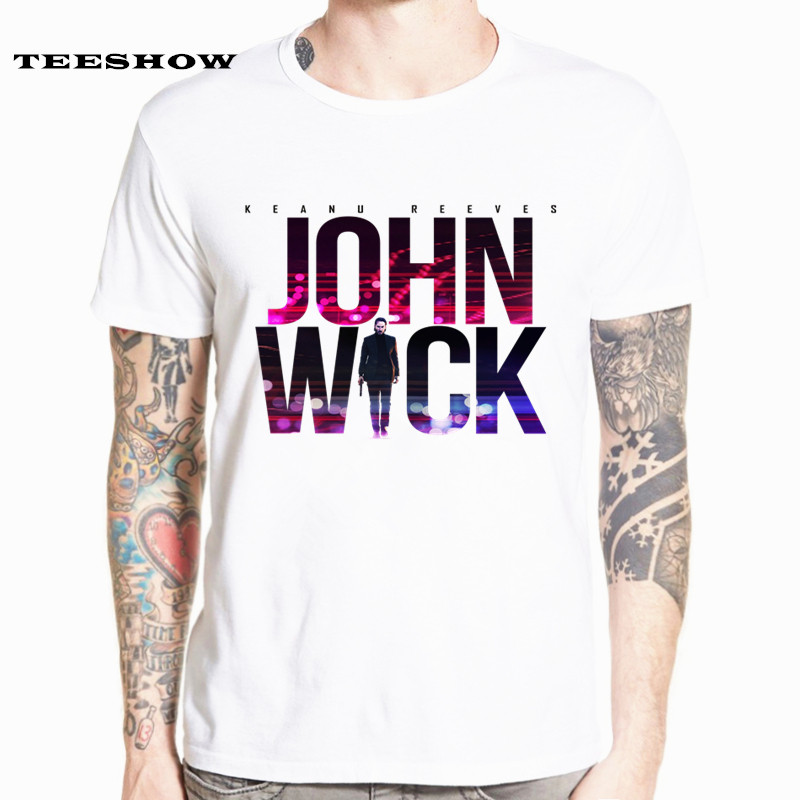 John Wick   T     Shirt   Tshirt Men Funny Print Fashion   T  -  shirt   Short Sleeve Summer Top Male Tee HCP4578