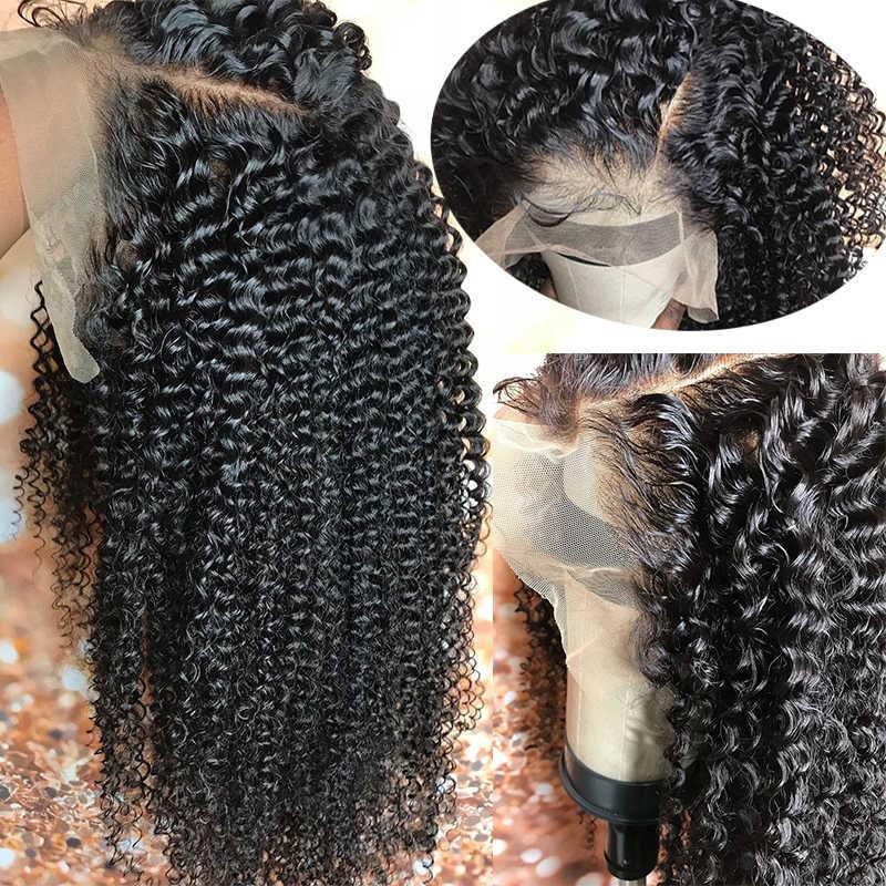 Peluca de pelo humano rizado mongol 360 peluca Frontal de encaje Pre desplumada Remy con pelucas de pelo de bebé para mujeres naturales negro ColorCARA