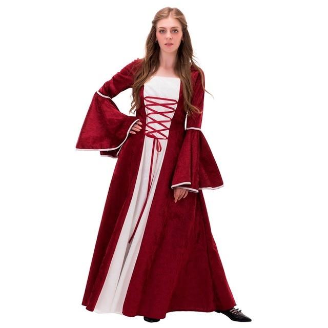Top Lady Medievale Rinascimentale Abito Abito Da Sposa Rosso Bianco  XZ21