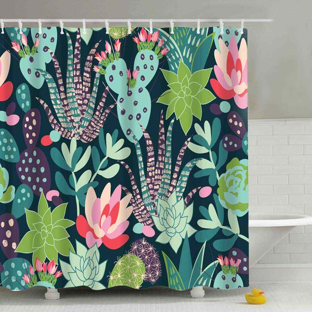 180*180cm Waterproof Shower Curtain For Bathroom Bathtub Curtains Polyester Green Curtain Tropical Plants Cactus Print