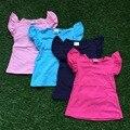 Бесплатная доставка 2016 новорожденных девочек летняя футболка дети сплошной цвет наряды 4 цвет дети бутик