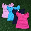 Envío gratis 2016 del bebé summer girls T-shirt niños color sólido trajes 4 colores niños boutique de la parte superior