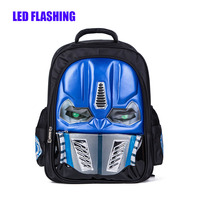 New Arrival LED Flashing Robot Children Backpacks Cool School Bags For Boys Kids Elementary Schoolbag