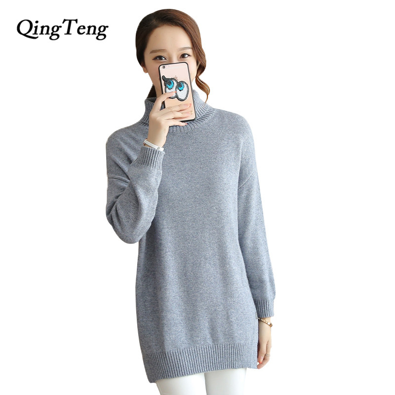 Здесь продается  QingTeng Women Winter Pull Femme Knitwear Split Long Sleeve Turtleneck Knitted 100 Cashmere Sweater Dress Loose Pullover Women  Одежда и аксессуары