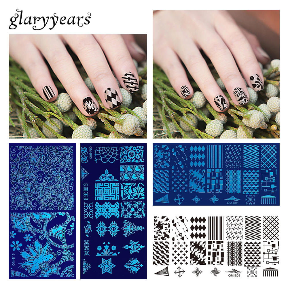 20 Designs 1 Piece Stamping Template Nail Art Plate Flower Lace