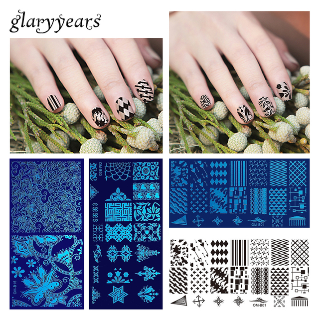 20 Designs 1 Piece Stamping Template Nail Art Plate Flower Lace ...