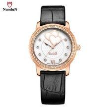 Women Watch Brand Nuodun Diamond Leather Strap Fashion Wristwatch Luxury Women's Quartz-watch Clock Montre Femme Dress Watches