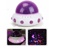 Novelty Rotation Music Night Light Projection Lamp UFO Shape Star Projection Tabel Sleep Lamp Toys Gift
