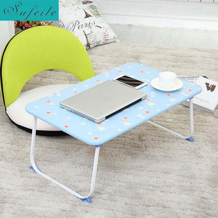 SUFEILE Large Laptop Folding table floral multi-function folding desk Computer desk dormitory bed table D20
