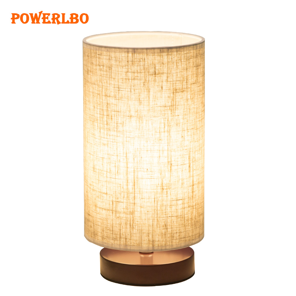 Table Lamp, Dimmable Bedside Desk Lamps, Nightstand Lamp with Linen Fabric Shade for Bedroom, Living Room ,Cylinder shade цена