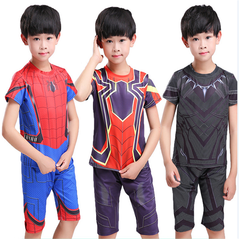Childrens summer costume spiderman homecoming suit spider man cosplay for kids Short - sleeved shorts sets