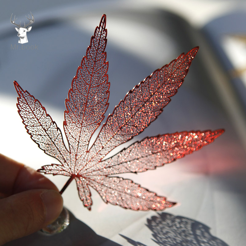 Chinese Style Metal Hollow Cmaple Leaf Bookmarks With Tassel Creative Craft Gifts Office Accessories School Stationery