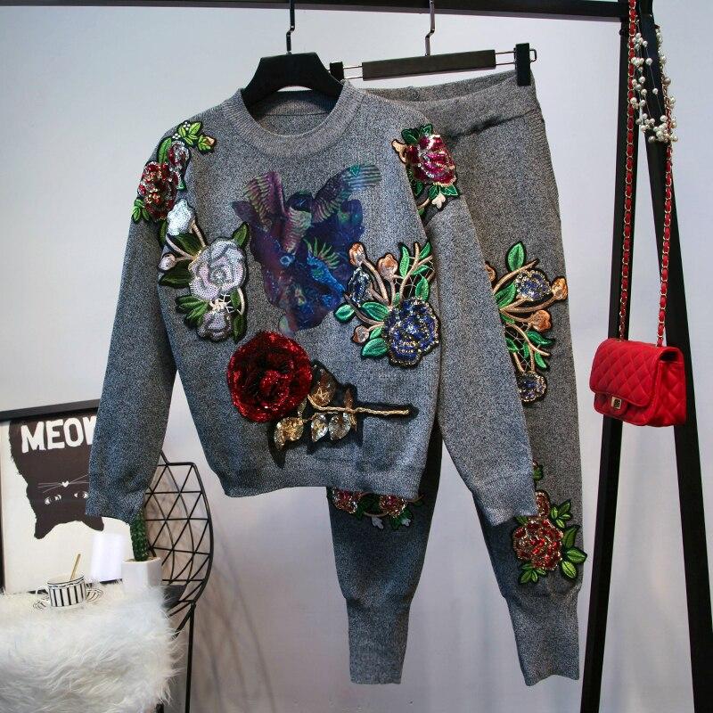Tricoté Top Pantalon Chandail Survêtements Costume Pièce Pull Et Longues Noir À 2 Manches Femmes Set Broderie gris Sportswear ZUwOzq