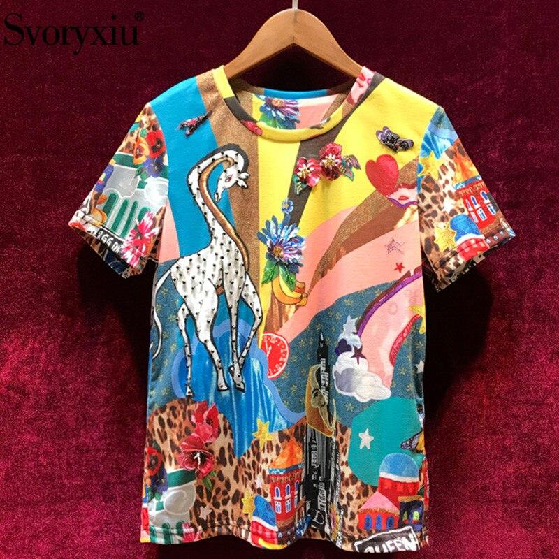 Svoryxiu 2019 Runway Summer Vintage Cotton Tees Tops Women's luxury Crystal Cartoon Leopard Print Casual Short Sleeve T Shirts