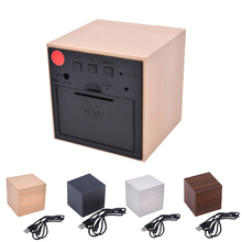 Lovely Cube Wooden Clock Voice Control LED Digital alarm clock Desk Snooze Electronic table Watch Nixie Wood Bedside Alarm Clock