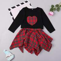 Toddler Girls Fall Outfits Sets 2018 New Arrival Korean Kids Clothing Black Tops Red Plaid Skirt 2pcs Suit Kids Tracksuit Outfit