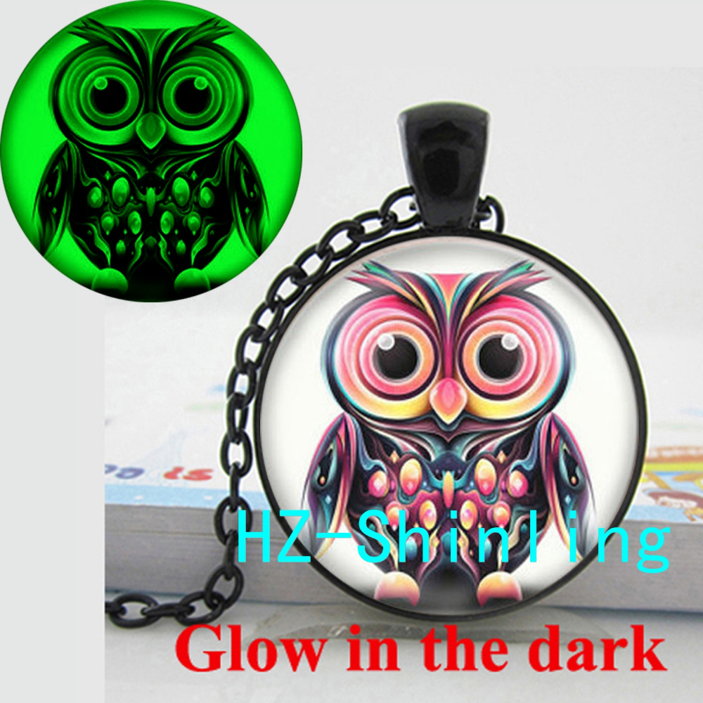 Glowing Pendant Colorful Pink Owl Necklace Colorful Owl Jewelry Glow in The Dark Jewelry Glass Dome Pendant Necklace