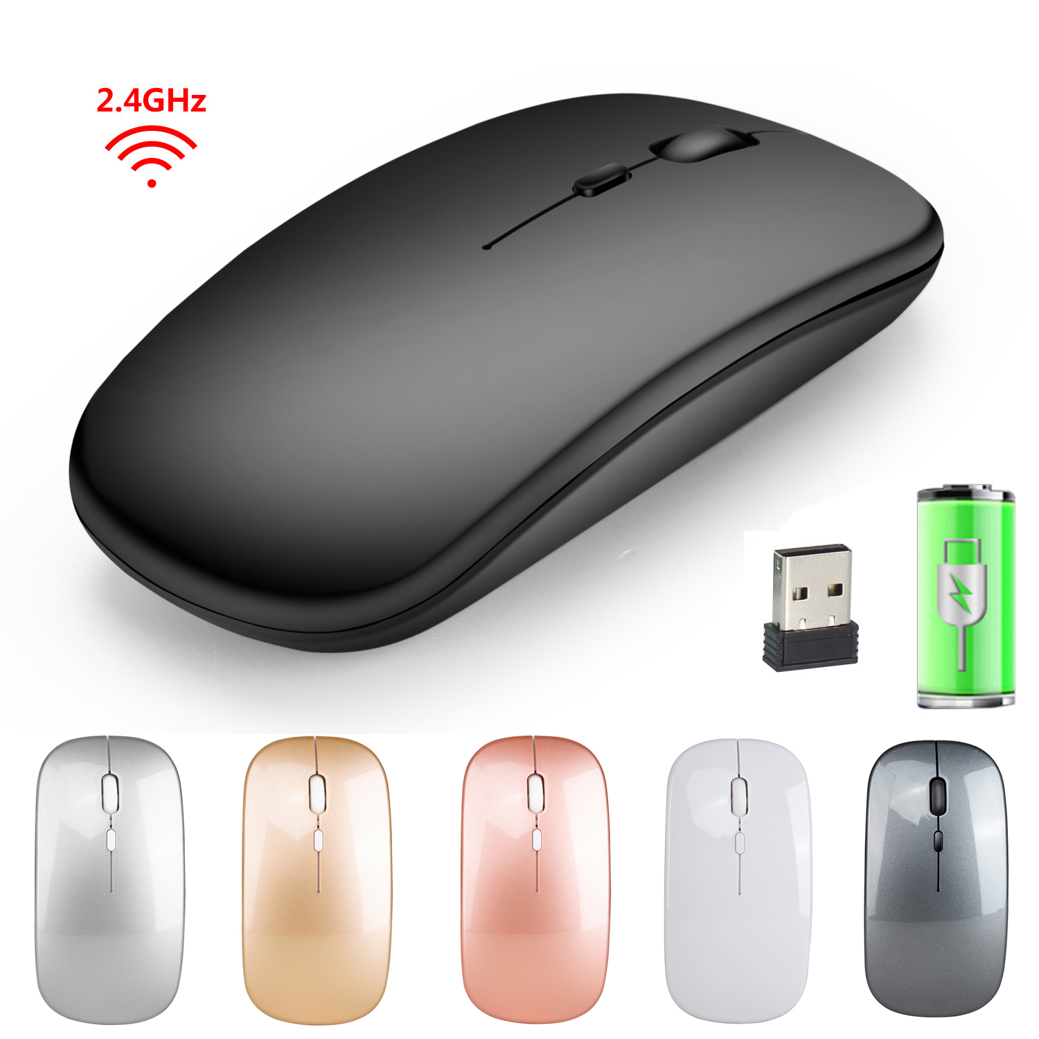 2.4G Bluetooth Mouse Wireless 1600DPI USB Rechargeable Mouse Slim Quiet 3 Button Ergonomics Optical Office Mouse For PC Computer