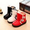2016 Новые дети водонепроницаемый снегоступы Зимой дети нескользящей резиновые сапоги теплые плюшевые хлопка обувь для мальчиков и девушки
