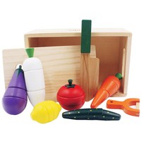 Baby Wooden box Kitchen Toys Cutting Vegetable Play miniature Food Kids Wooden food toys
