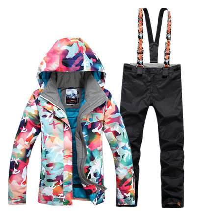GSOU SNOW combinaison de Ski femme hiver extérieur coupe-vent imperméable épais chaud respirant veste de Ski pantalon de Ski taille XS-L - 5