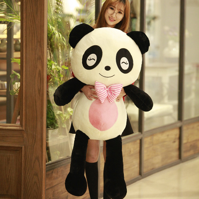 stuffed panda toy huge 120cm squinting eyes panda plush toy panda doll 47 inch,soft hugging pillow birthday gift, Xmas gift 0319 lovely giant panda about 70cm plush toy t shirt dress panda doll soft throw pillow christmas birthday gift x023