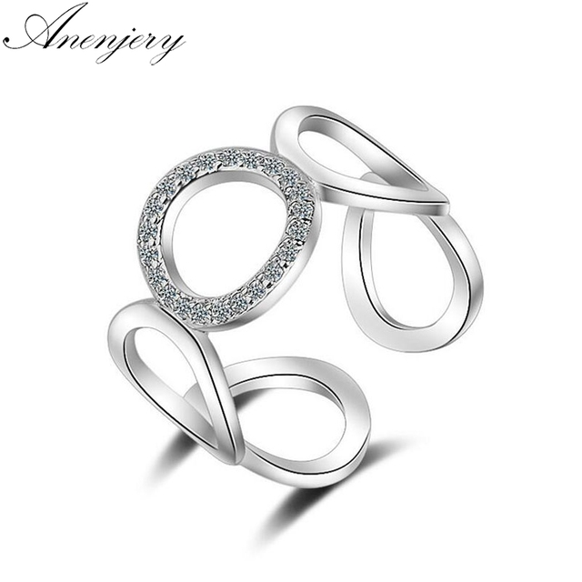 Anenjery 925 Sterling Silver Rings For Women Trendy Fashion Mosaic CZ Zircon Res