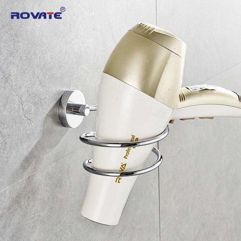 Rovate сушилка для волос в ванной держатель из нержавеющей стали настенные полки полка хром держатель для фена аксессуары