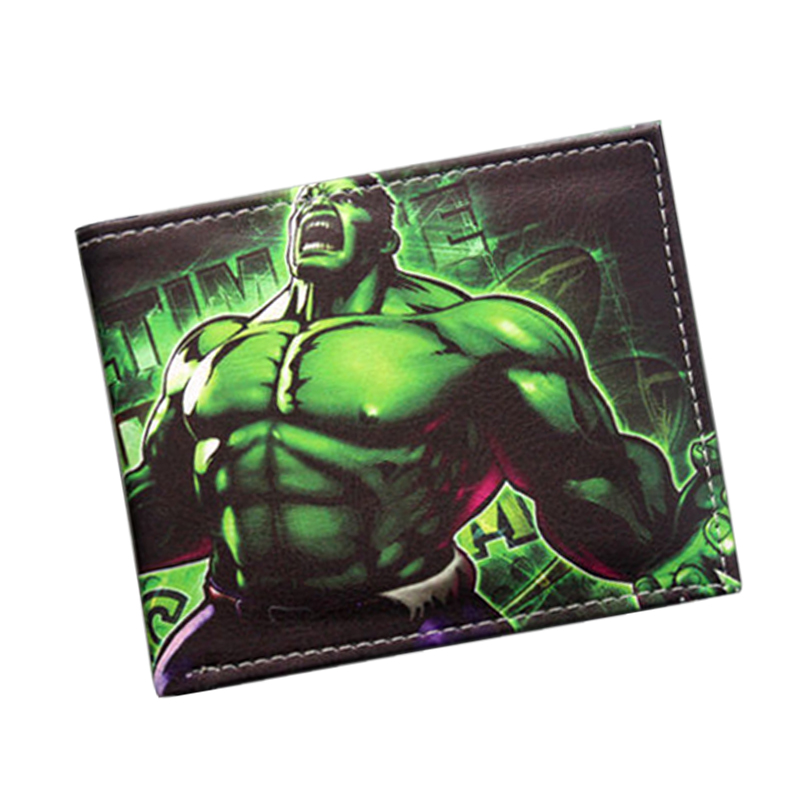 Hot Collectible Comics Wallets Avengers Superhero HULK Wallet Short Leather Men's Wallet Bifold Green Giant HULK Purse Money Bag new hot dc comics the flash wallets short leather bifold dollar price for young men and women