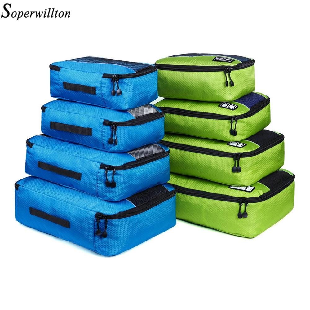 Soperwillton Men Women Travel Bag Male Female 210D Polyester 3 4 6 8 Pieces Packing Cubes Travel Luggage Organizer Cube Set #501