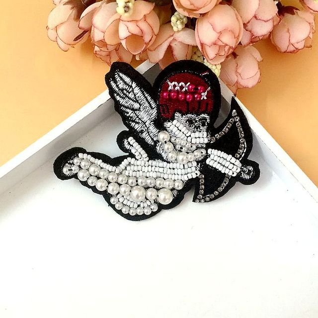 Cupid Angel s Arrow Patch for Clothes Sewing on Rhinestone Beaded Applique  for Jackets Jeans Bags Shoes f8080ad8fc04