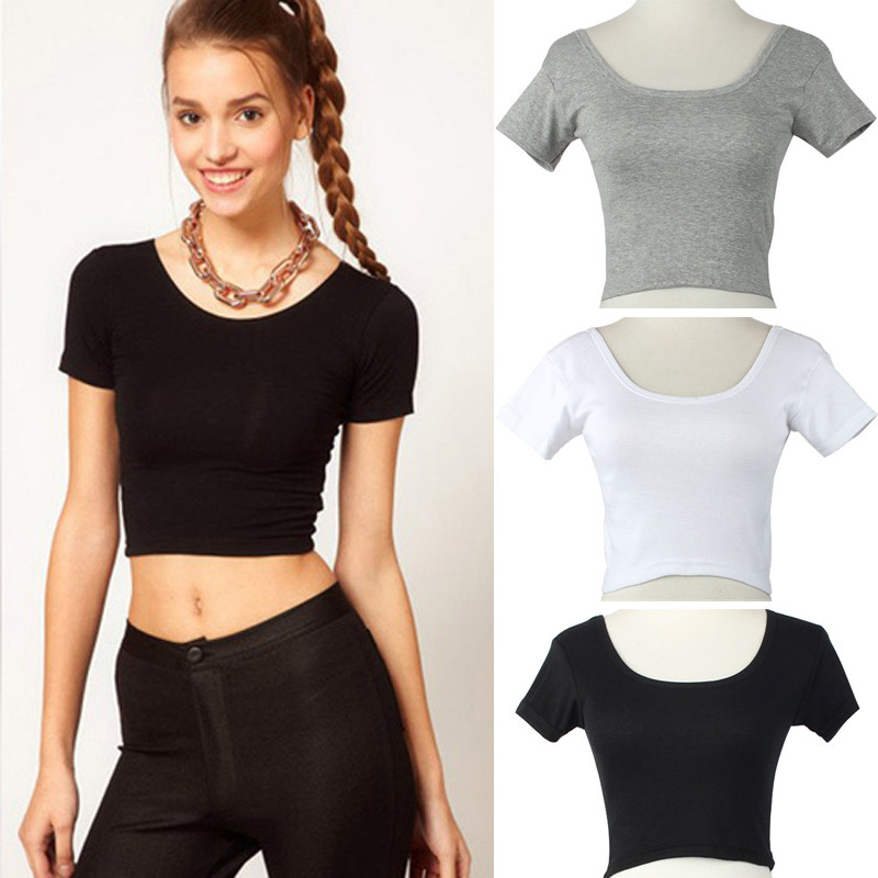 6693ba63197 New Short Sleeves Tops Sexy Women Basic Tees Cropped Tops Fashion ...
