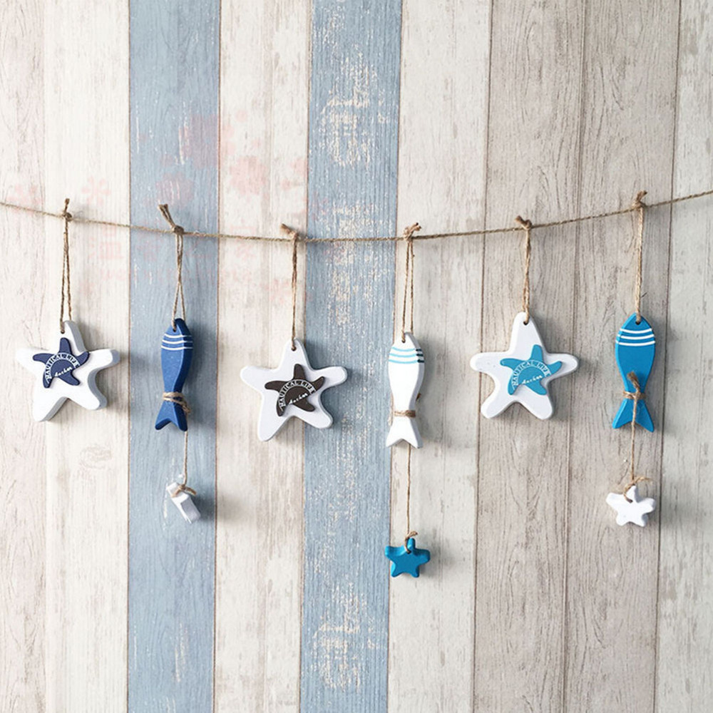 House Decoration Craft Kissing Fish Home Furnishings: 1PC Small Adorn Wood Crafts Mediterranean Starfish Hung