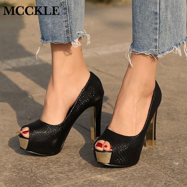 MCCKLE Kadın Moda Pompaları Yüksek Topuklu Sonbahar Bahar kadın Yüksek Topuklu Platformu Peep Toe parti ayakkabıları Bayanlar Damla Nakliye
