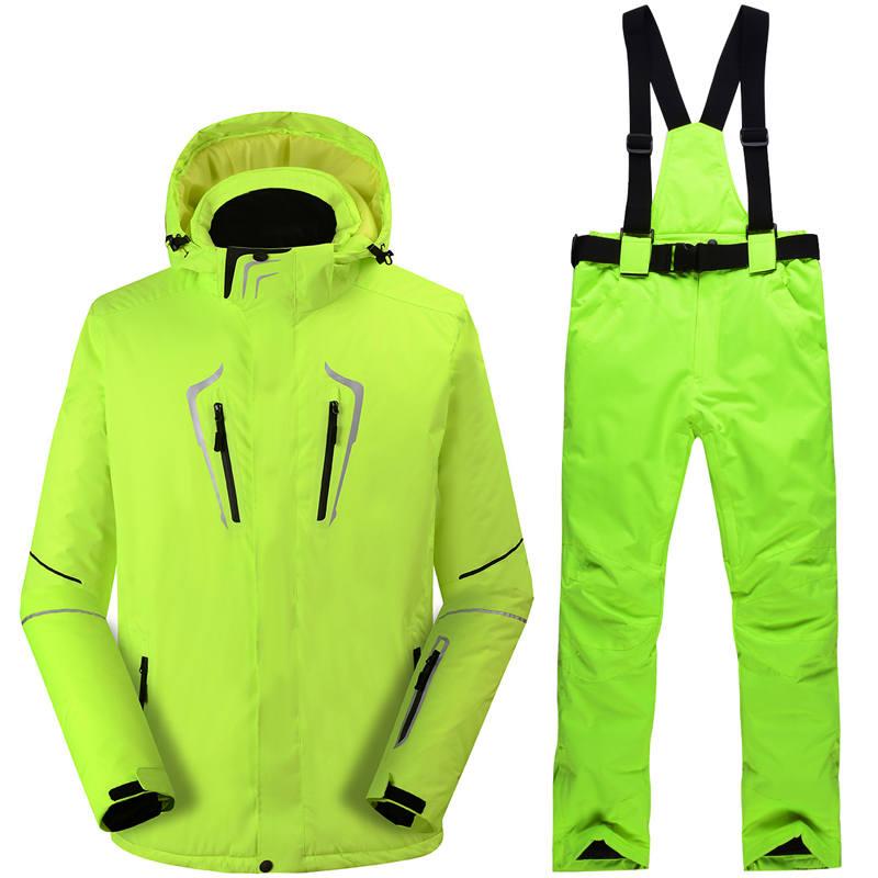 -30 fluorescente verde Uomo tuta Da Neve snowboard all'aperto set impermeabile di inverno Costumi abbigliamento sci giacche + bavaglini pantaloni